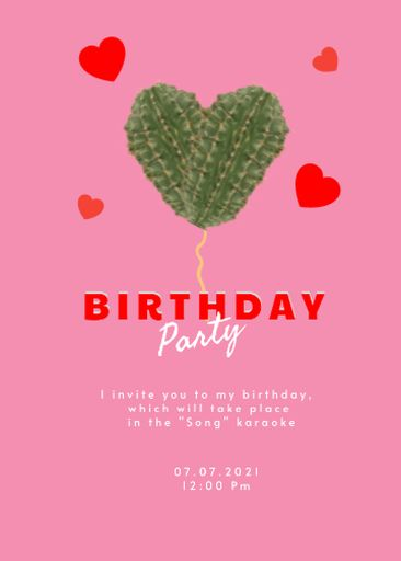 Birthday Party Announcement With Hearts