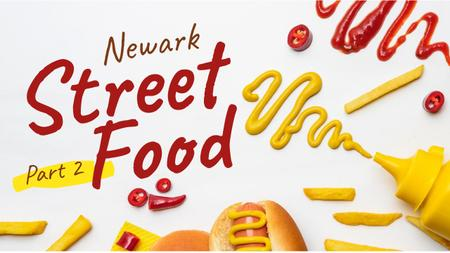 Ontwerpsjabloon van Youtube Thumbnail van Street Food Hot Dog and Sauces