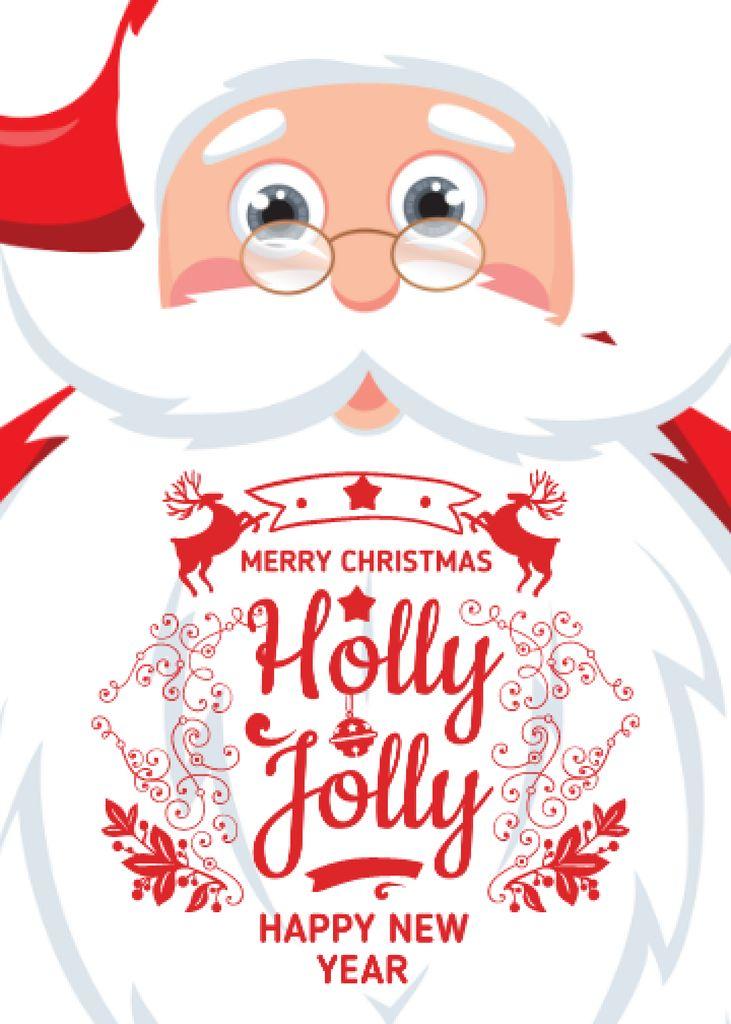 Holly Jolly Greeting with Santa Claus Flayerデザインテンプレート