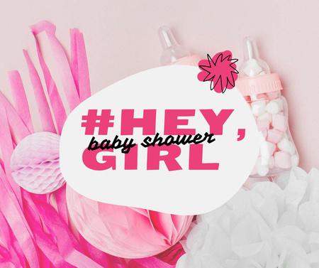Plantilla de diseño de Baby Shower Holiday Announcement with Pink Things Facebook