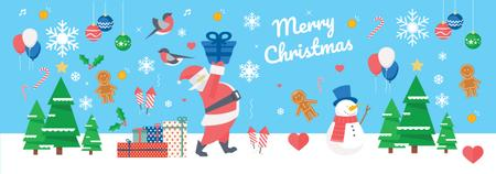 Christmas Holiday greeting Santa delivering Gifts Tumblr – шаблон для дизайну