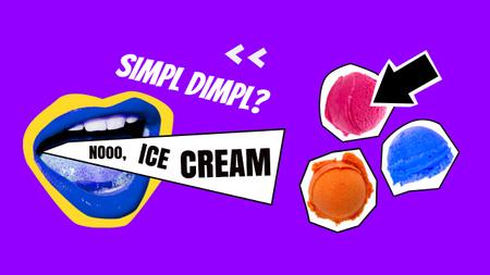 Plantilla de diseño de Colorful Ice Cream Balls and Funny Mouth with Blue Lips Youtube Thumbnail