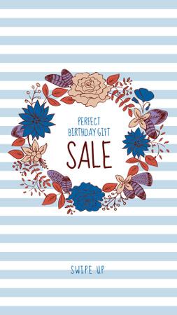 Birthday Sale Offer in Flower Wreath Instagram Story – шаблон для дизайну
