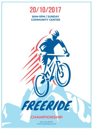 Template di design Freeride Championship Announcement Cyclist in Mountains Flayer