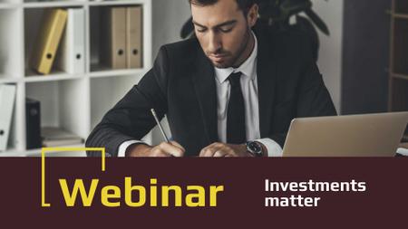 Ontwerpsjabloon van FB event cover van Businessman working by Laptop for Investment webinar