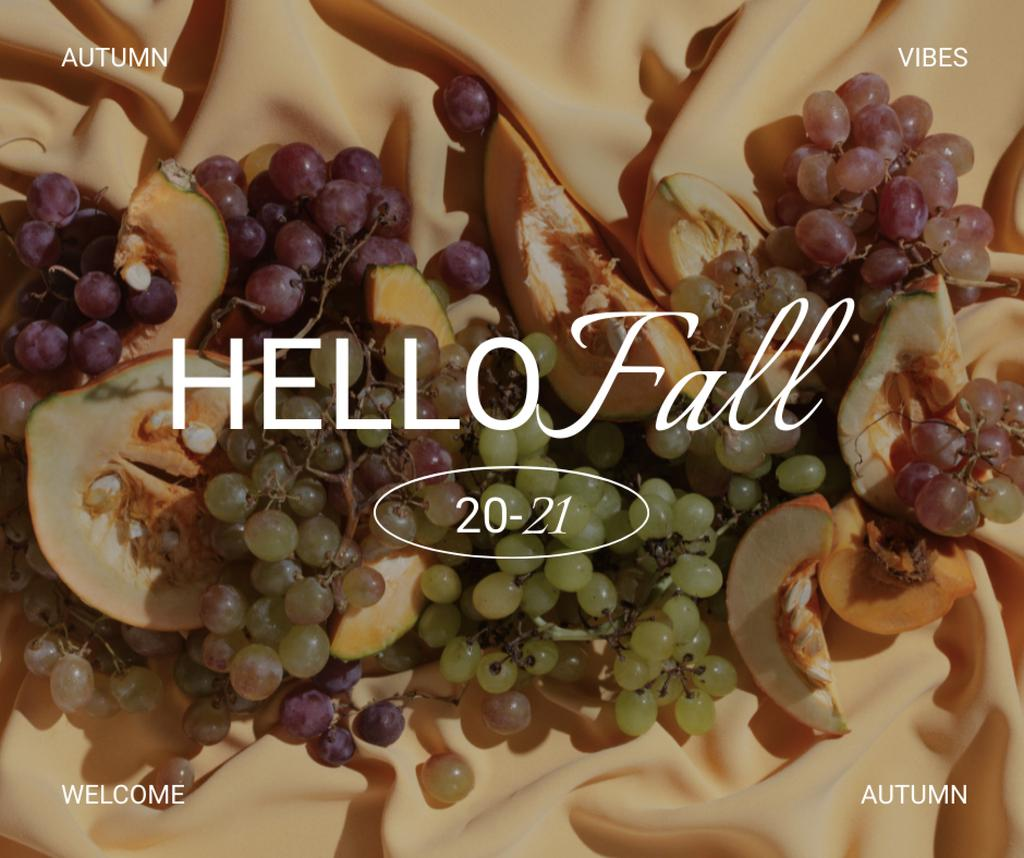 Autumn Greeting with Grapes and Peaches Facebook – шаблон для дизайна