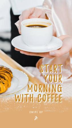 Breakfast with Croissant and Tea Instagram Story – шаблон для дизайна