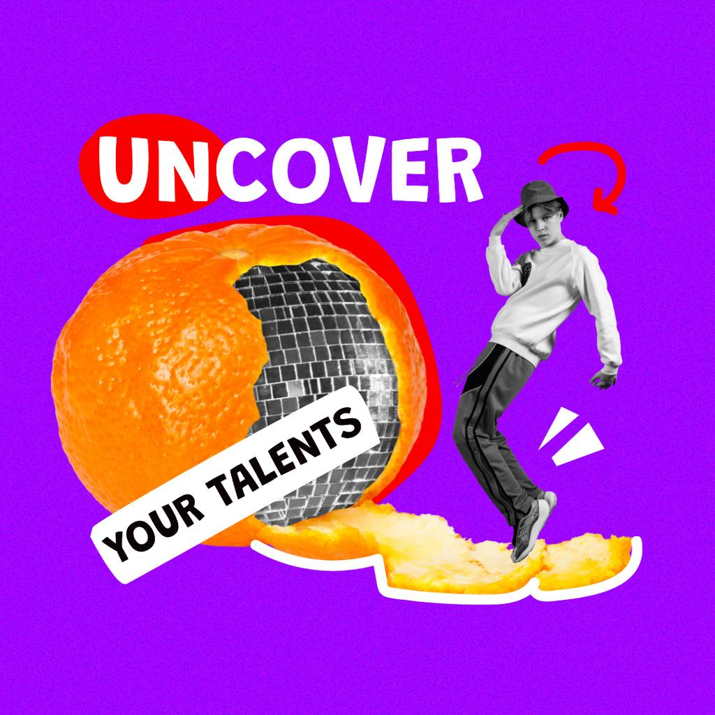 Plantilla de diseño de Funny Guy with Disco Ball in Orange Peel Instagram