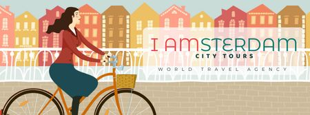 Template di design Girl riding bicycle in Amsterdam city Facebook Video cover