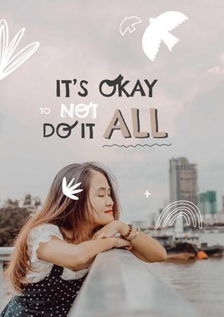 Modèle de visuel Mental Health Inspiration with Cute Girl in City - Poster