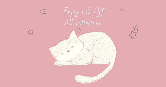 Ontwerpsjabloon van Facebook AD van Pet Shop Offer with Cute Sleeping Cat
