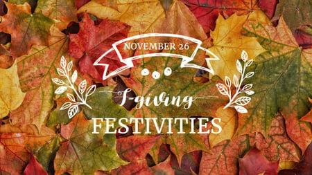Ontwerpsjabloon van FB event cover van Thanksgiving Festivities Announcement with Autumn Foliage