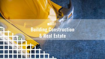 Building Business Construction with Tools on Blue