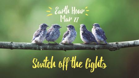 Modèle de visuel Earth Hour Announcement with Birds on Branch - FB event cover