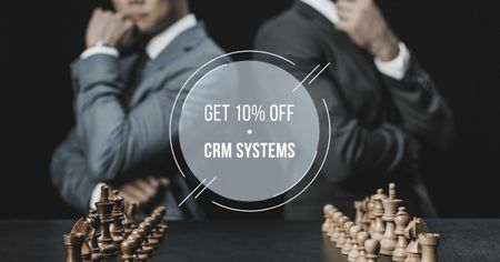 CRM Systems Offer with Businessmen playing Chess Facebook ADデザインテンプレート