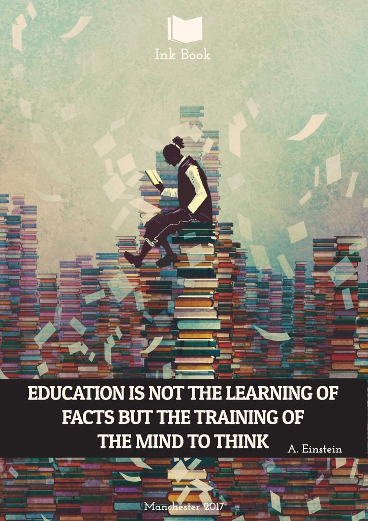 Education quote with man in library — Crear un diseño