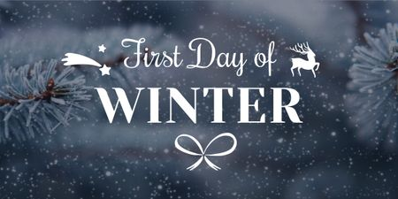 First day of winter lettering with frozen fir tree branch Image Modelo de Design