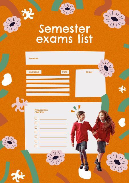 Semester Exams List Planning Schedule Planner – шаблон для дизайна