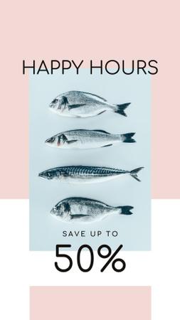 Designvorlage Happy Hours Offer on Fresh Fish für Instagram Story