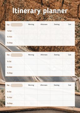 Itinerary planner with Mountain Road