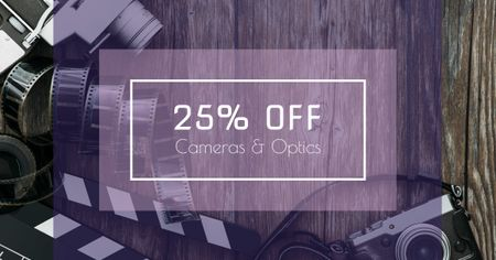 Cameras and Optics Sale Offer Facebook AD – шаблон для дизайна