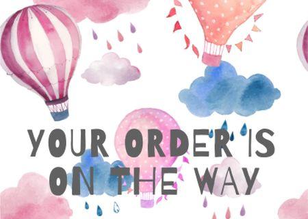 Designvorlage Inspirational Phrase with Bright Air Balloon für Card