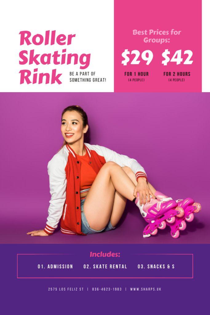 Rollerskating Rink Offer with Girl in Skates Tumblr – шаблон для дизайну