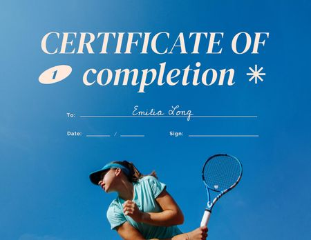 Tennis Course Completion Award Certificate Design Template