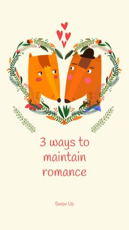 Template di design Cute Foxes Couple in Floral Heart Instagram Story