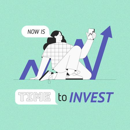 Designvorlage Girl on Investments Diagram für Instagram