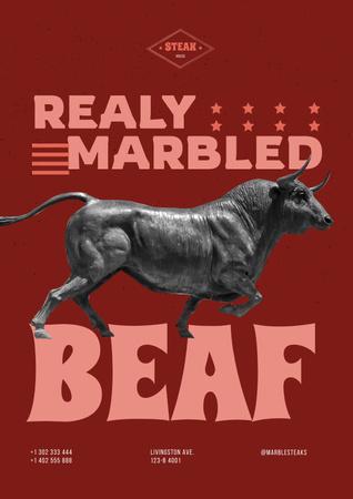 Modèle de visuel Beef Offer with Big Bull - Poster