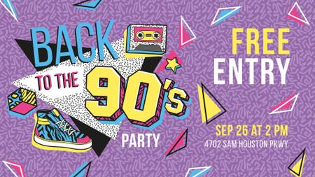 Szablon projektu Retro Party invitation Musical Cassette on Colorful Pattern FB event cover