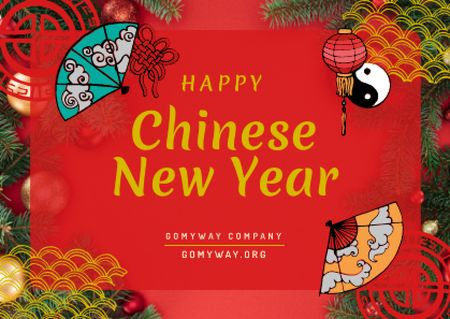 Template di design Chinese New Year Greeting with Asian Symbols Card