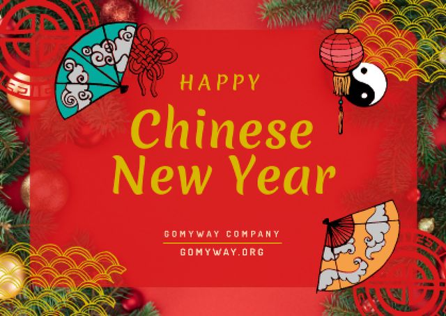 Ontwerpsjabloon van Card van Chinese New Year Greeting with Asian Symbols
