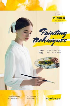 Painting Courses with Girl Holding Brush and Palette Pinterestデザインテンプレート