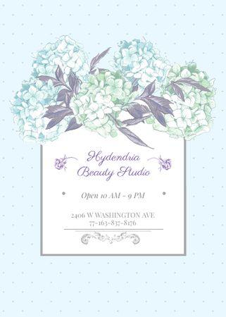 Hydrangea beauty studio ad in Blue Flayer – шаблон для дизайна