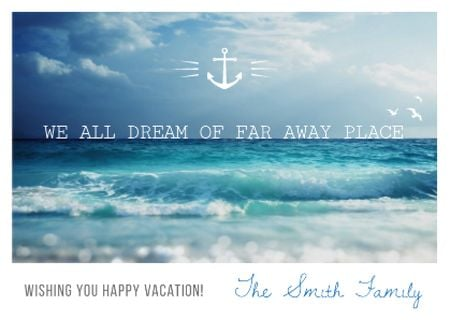 Motivational quote with Ocean Landscape Postcard Modelo de Design