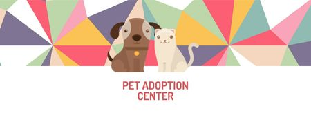 Plantilla de diseño de Animal Adoption center with Cute Pets Facebook cover