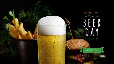 Beer Day Celebration with Burger and French Fries FB event coverデザインテンプレート