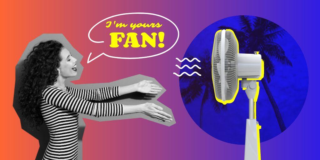 Woman enjoying Ventilator's Blowing Twitter Modelo de Design