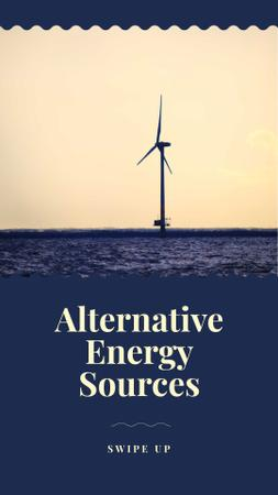 Alternative Energy Sources Ad with Wind Turbine Instagram Story Tasarım Şablonu