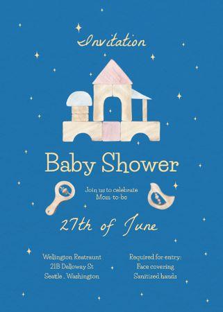Baby Shower Announcement with Cartoon House Invitation – шаблон для дизайну