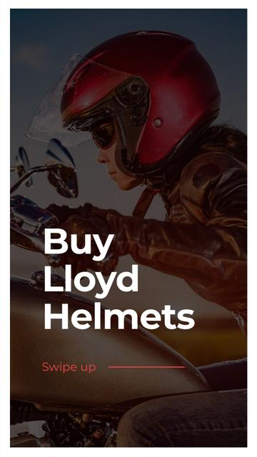 Plantilla de diseño de Helmets Sale Offer with Biker Instagram Story