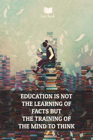 Education quote with man in library Pinterest Design Template
