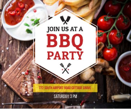 BBQ Party Invitation with Grilled Steak Large Rectangle Modelo de Design