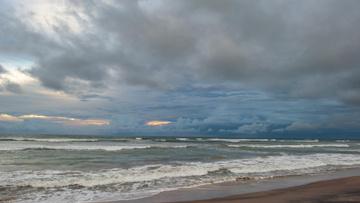 Beautiful landscape of thunderstorm Ocean