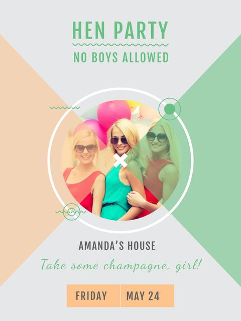 Hen Party invitation with Smiling Girls Poster US – шаблон для дизайна