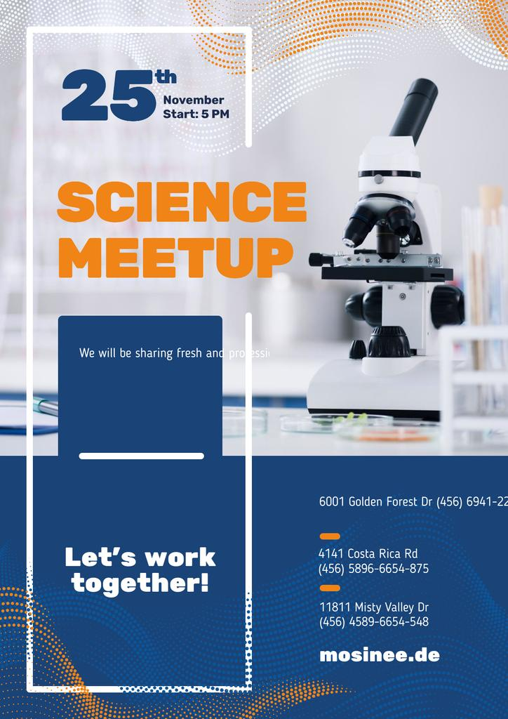 Science Event Announcement with Microscope in Lab — Crea un design