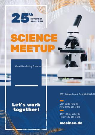 Science Event Announcement with Microscope in Lab Poster Modelo de Design