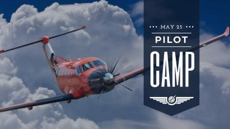 Plane flying in blue sky FB event cover – шаблон для дизайна